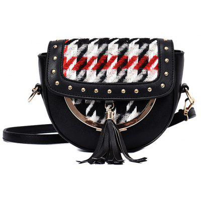 Tassel Plaid Rivet Crossbody Bag