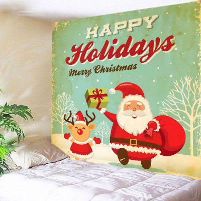 Wall Hanging Art Merry Christmas Santa Print Tapestry