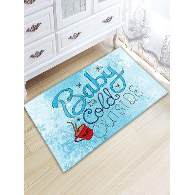 Christmas Letter Print Thickening Flannel Bathroom Rug