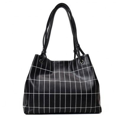 Stitching Plaid Faux Leather Shoulder Bag