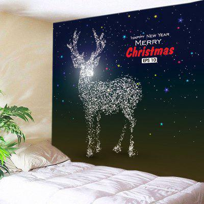 Buy DEEP BLUE Wall Hanging Art Christmas Galaxy Deer Print Tapestry for $15.00 in GearBest store
