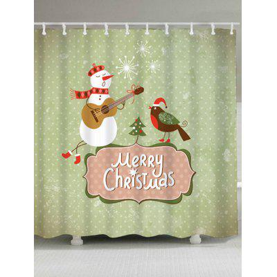 Christmas Snowman Waterproof Shower Curtain