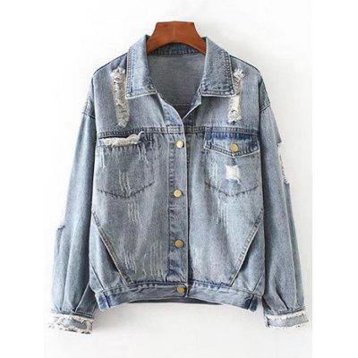 Button Up Ripped Pockets Denim Jacket
