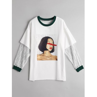 Lace Panel Graphic T-shirt