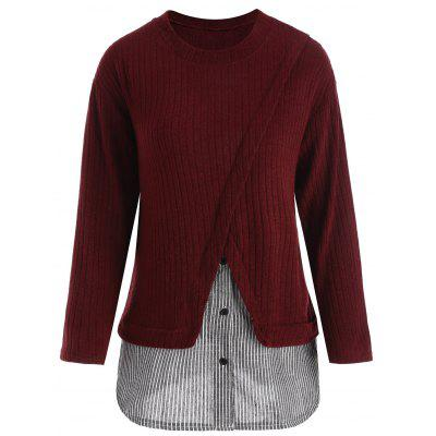Buy WINE RED 4XL Striped Panel Plus Size Drop Shoulder Knitwear for $24.53 in GearBest store