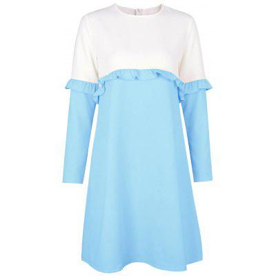 Buy LIGHT BLUE M Flounce Two Tone Shift Dress for $20.92 in GearBest store