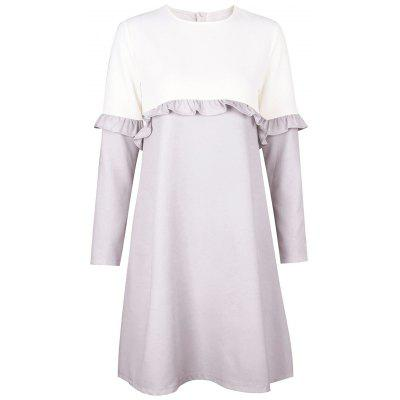 Buy GRAY L Flounce Two Tone Shift Dress for $20.92 in GearBest store