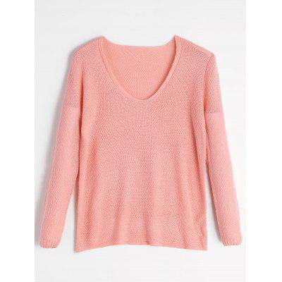 Buy LIGHT PINK L Loose Fit V Neck Pullover Knitwear for $21.19 in GearBest store