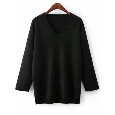 Buy BLACK Side Slit V Neck Pullover Sweater for $29.41 in GearBest store