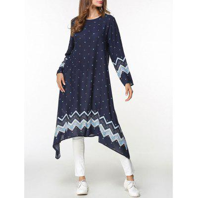 Buy PURPLISH BLUE L Printed Asymmetrical Long Sleeve Dress for $22.37 in GearBest store
