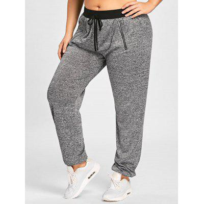 Plus Size Zipper Embellished Drawstring Waist Jogger Pants