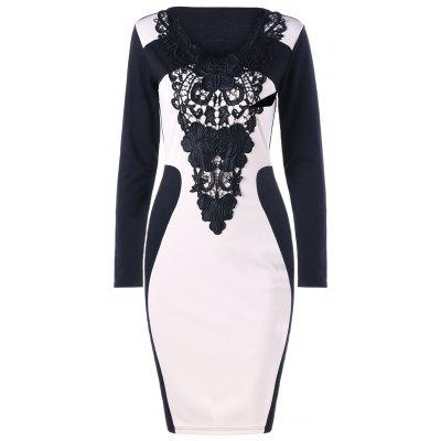 Buy WHITE AND BLACK 2XL Crochet Panel Long Sleeve Bodycon Dress for $18.61 in GearBest store