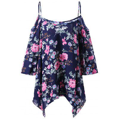 Plus Size Floral Dew Shoulder Handkerchief Blusa