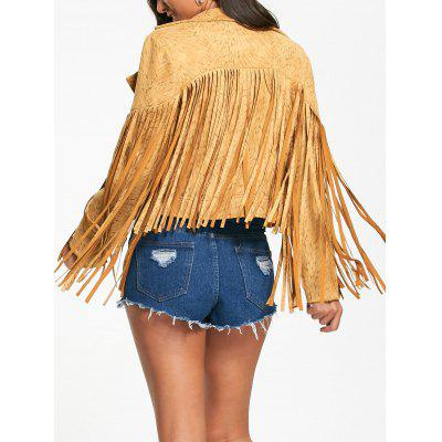 Long Fringed Short Zip Up Jacket