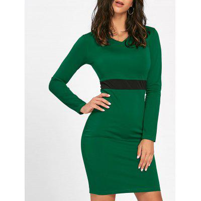 V Neck Two Tone Bodycon Dress
