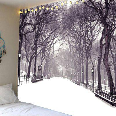 Snowfield Trees Printed Waterproof Wall Hanging Tapestry