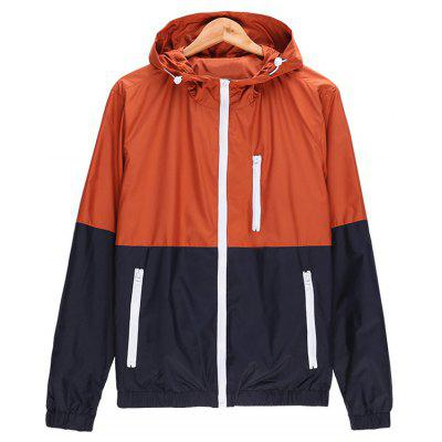 Zip Up Two Tone Hooded Lightweight Jacket
