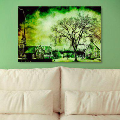 Town Tree Print Canvas Wall Art Painting