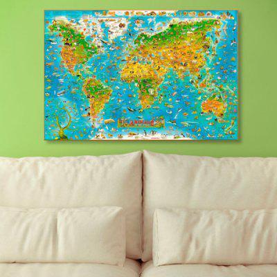 Wall Art World Map Print Canvas Painting