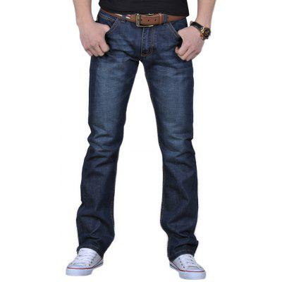 Zip Fly Straight Leg Basic Jeans
