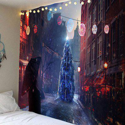 Christmas Street Pattern Waterproof Wall Hanging Tapestry