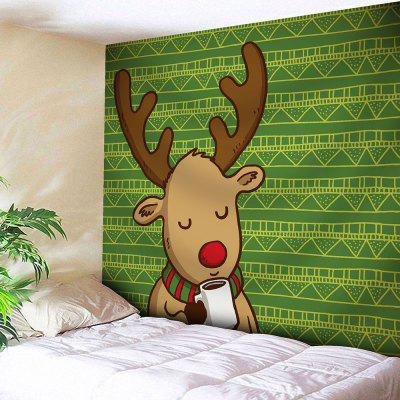 Christmas Cartoon Deer Geometric Wall Tapestry