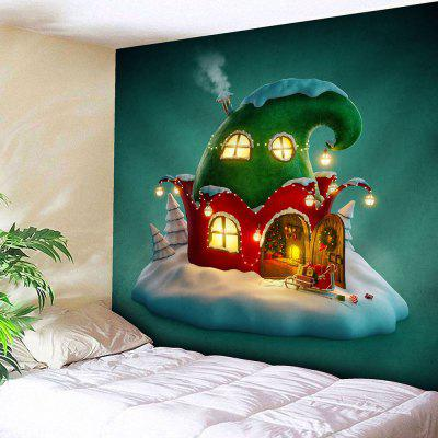 Christmas Cartoon House Wall Tapestry