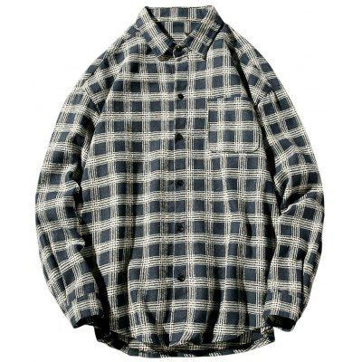 Colar Turndown Collar Vintage Checked