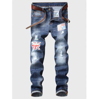 Zipper Fly Flag Applique Bleached Ripped Jeans