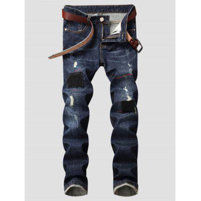 Zipper Fly Patched Straight Leg Ripped Jeans