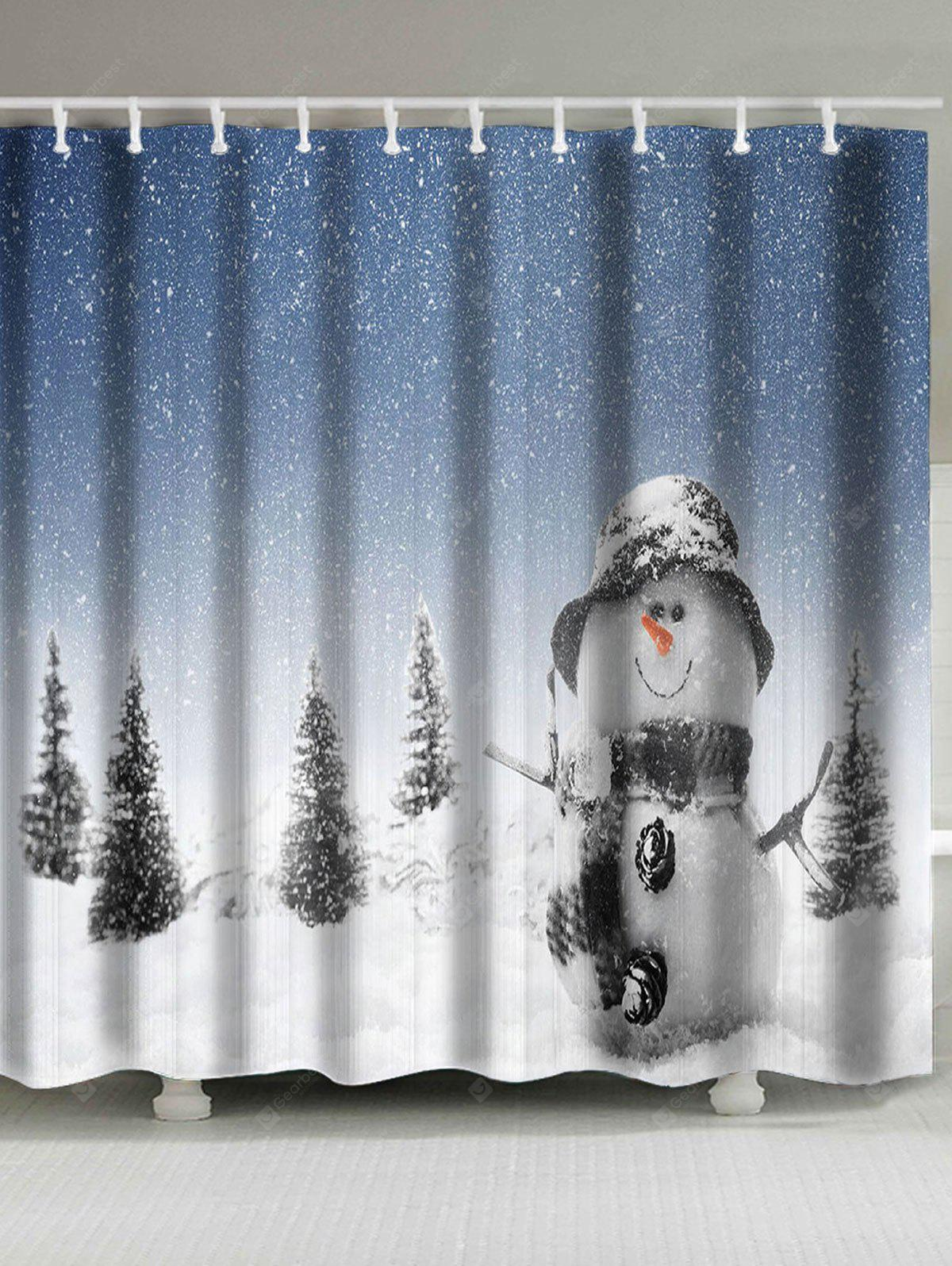 Christmas Snowman Patterned Bath Shower Curtain
