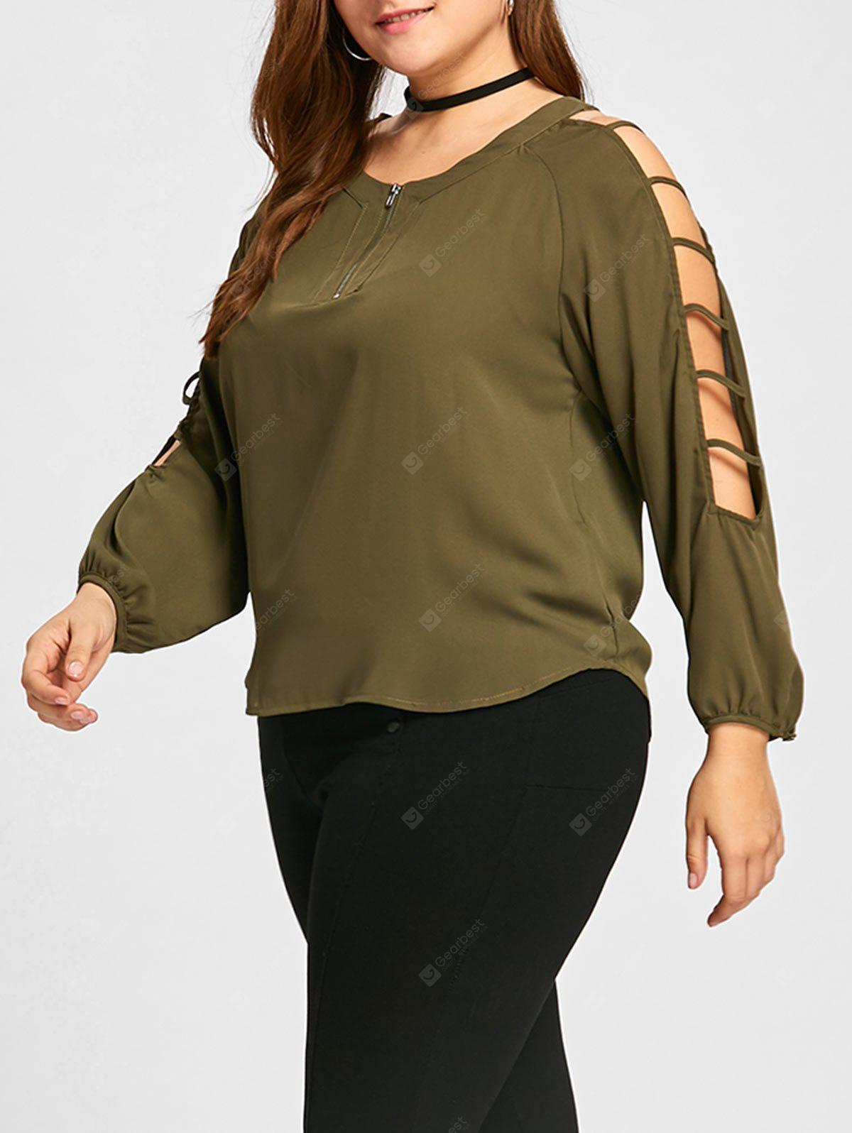 Ladder Cut Out Plus Size Half Zipper Blouse