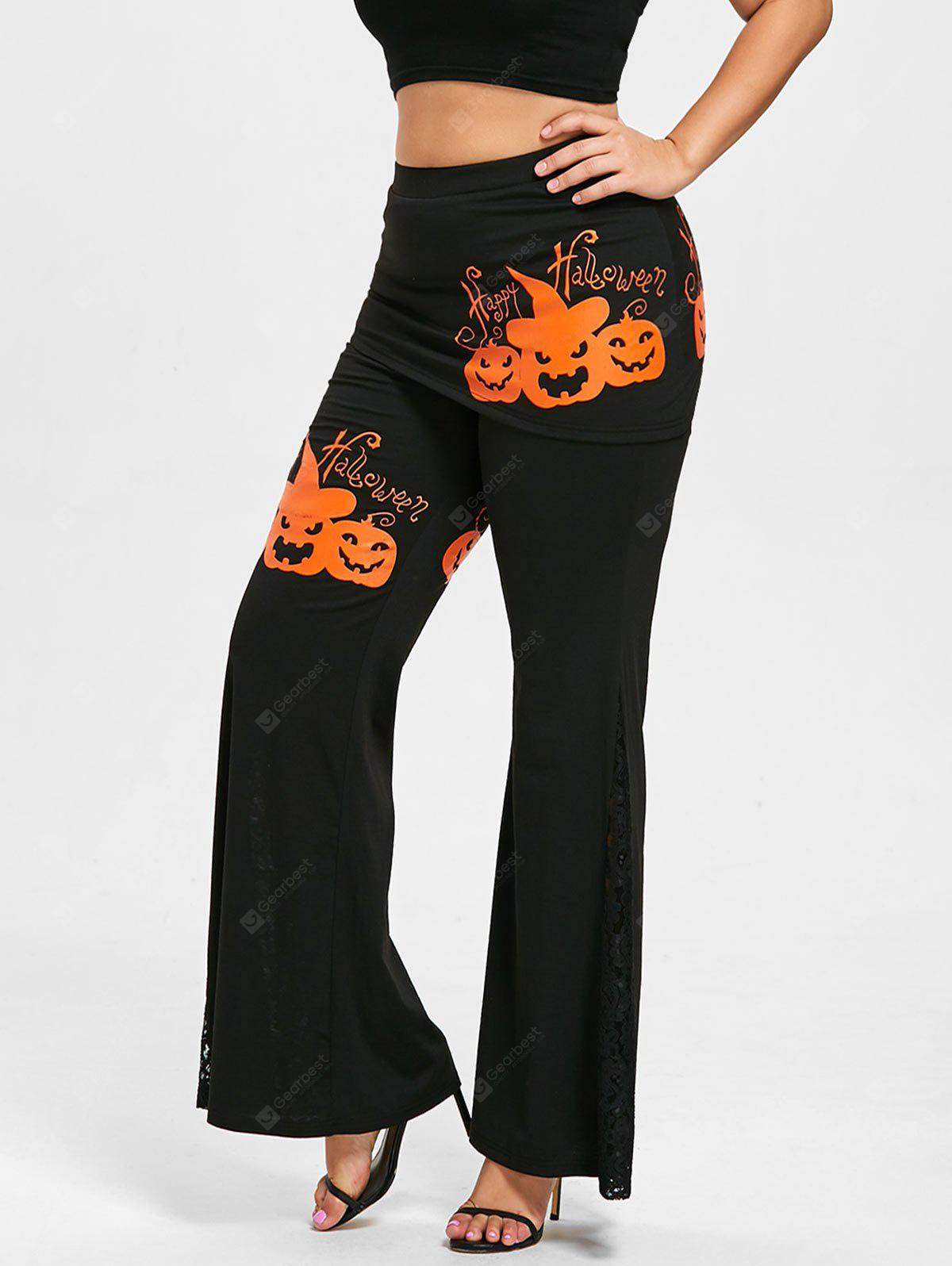 BLACK XL Halloween Pumpkin Lace Panel Plus Size Skirted Pants