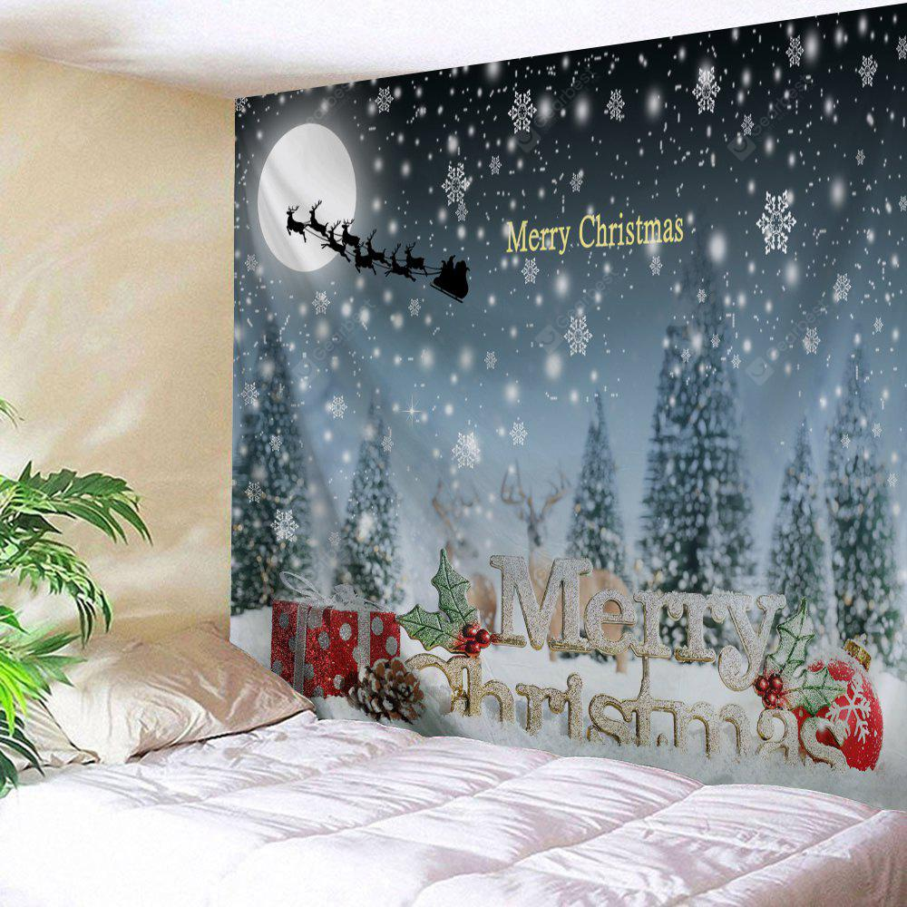 Christmas Snow Night Sled Wall Tapestry