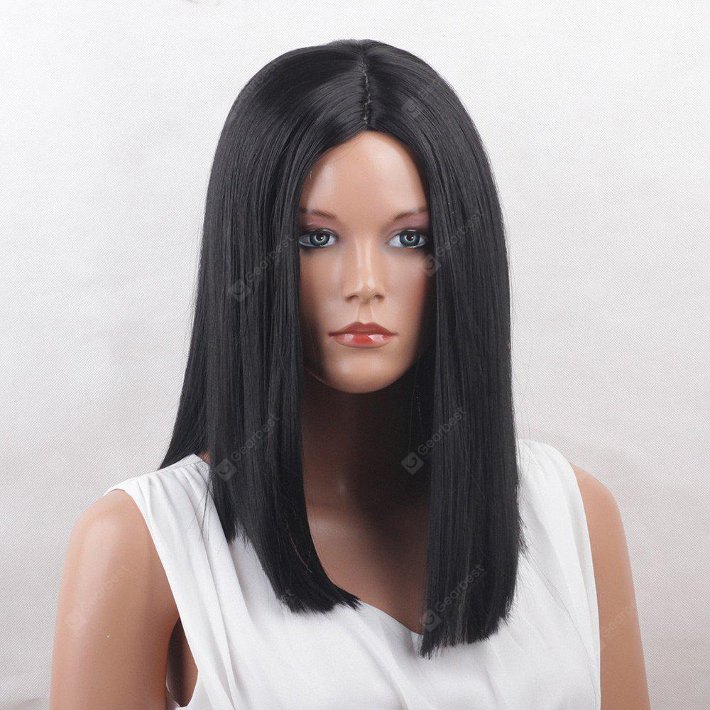 Médio Centro Parting One Length Straight Synthetic Wig