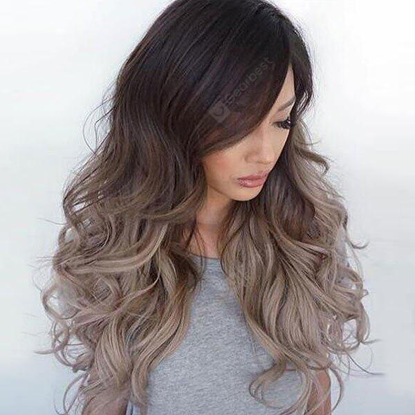 Long Side Bang Shaggy Ombre Wavy Synthetic Wig