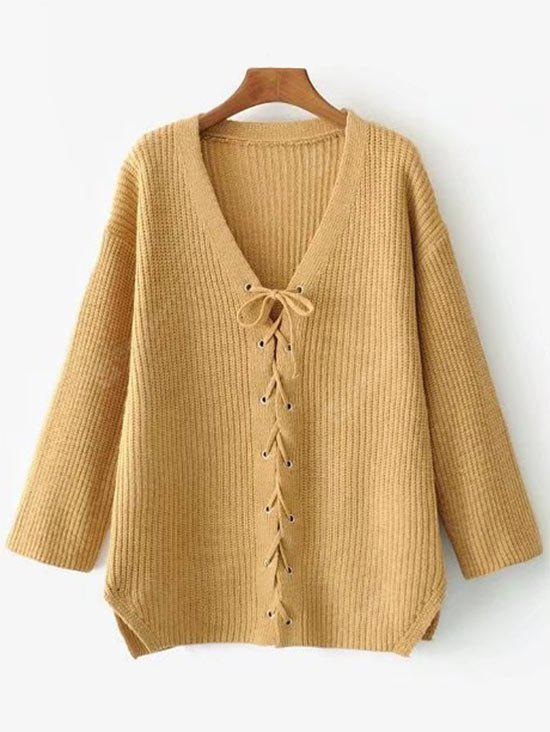 Low Cut Lace Up Sweater