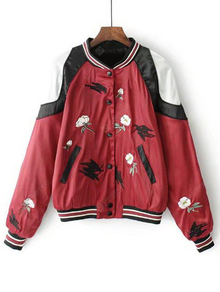 Floral Embroidered Button Up Baseball Jacket