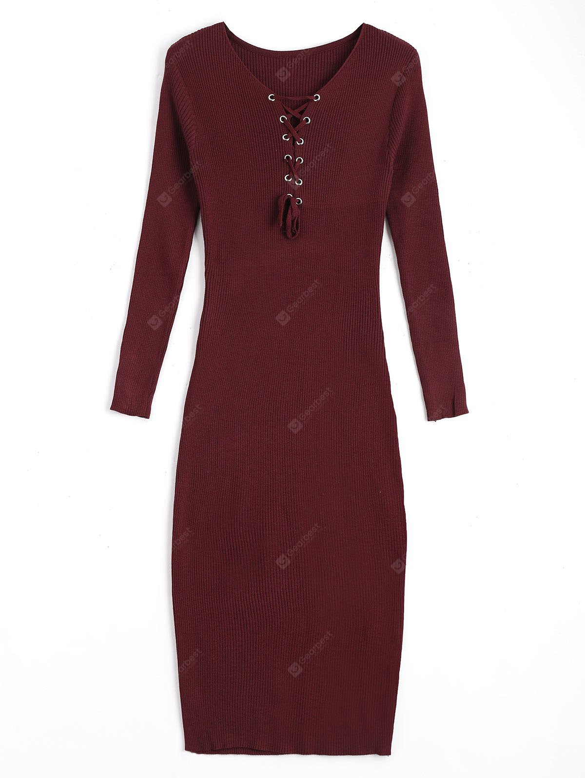 Lace Up Long Sleeve Sweater Bodycon Dress