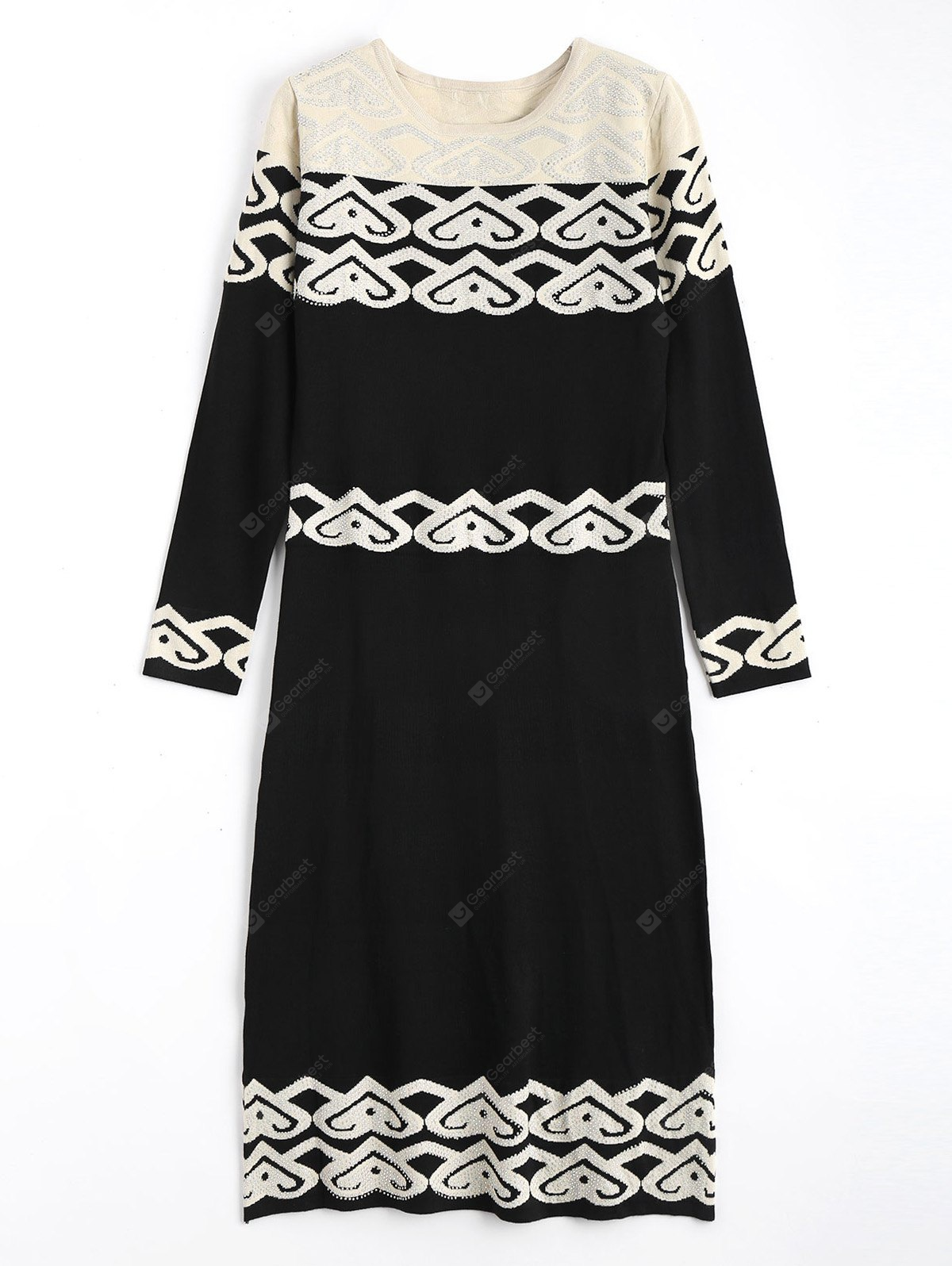 Rhinestoned Jacquard Long Sleeve Sweater Dress