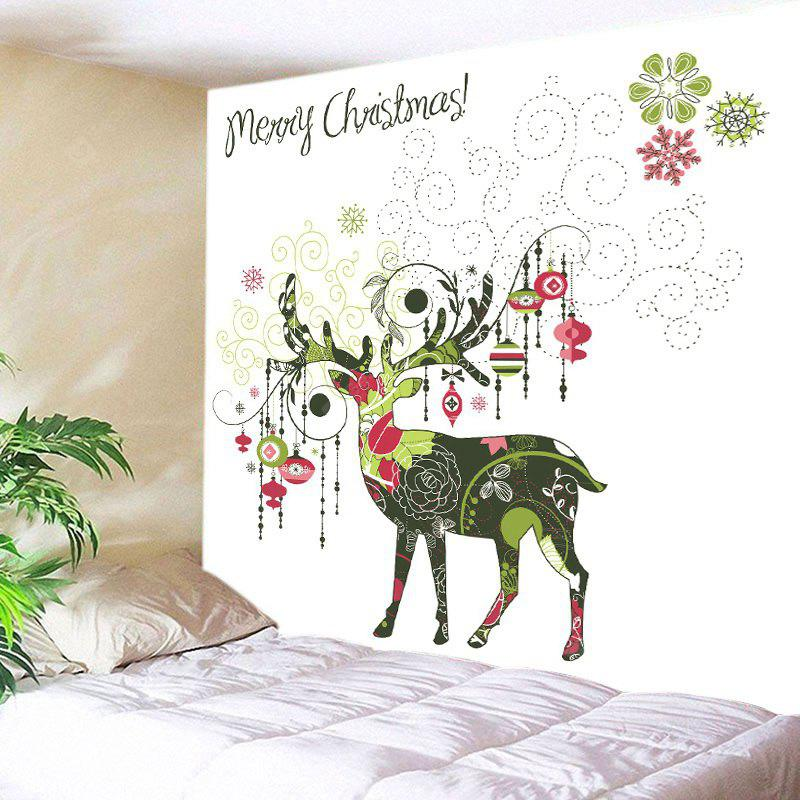 Wall Hanging Art Merry Christmas Deer Print Tapestry