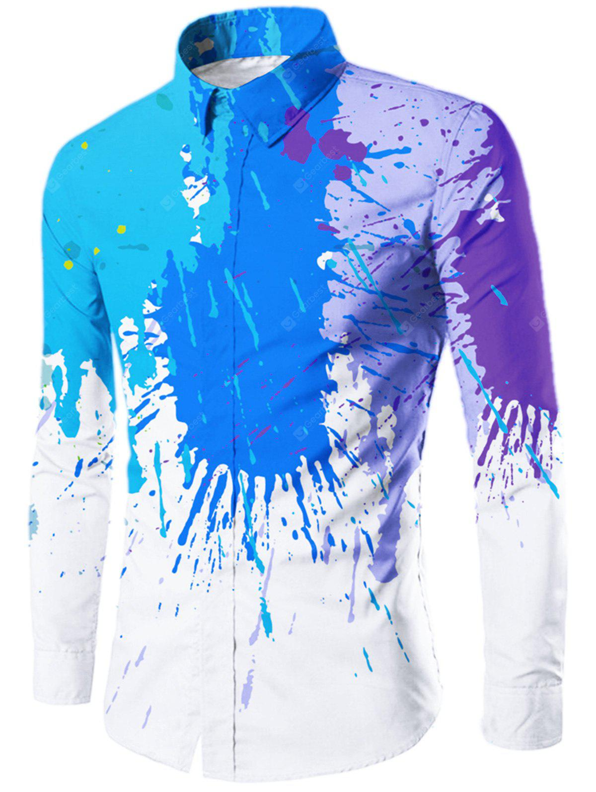 Splatter Painted Turn-down Collar Shirt