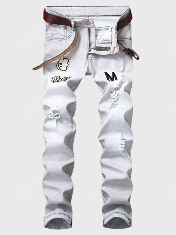 LIGHT GRAY Zipper Fly Cartoon Graphic Appliques Ripped Jeans