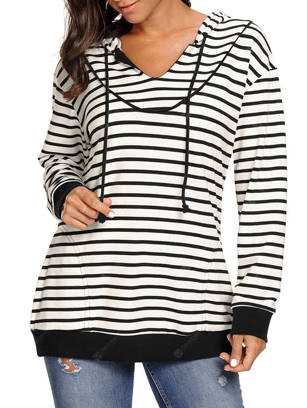 Tunic Drawstring Striped Hoodie