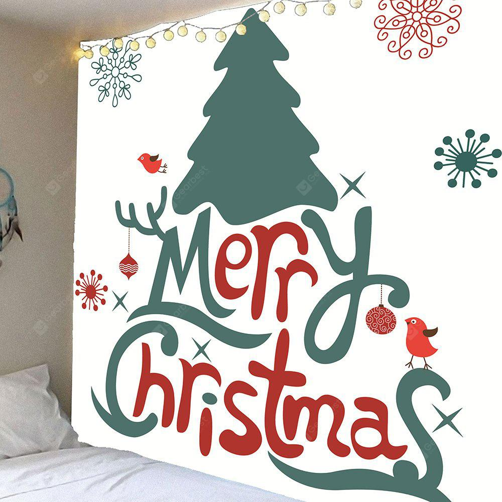 Merry Christmas Letters Pattern Waterproof Wall Hanging Tapestry