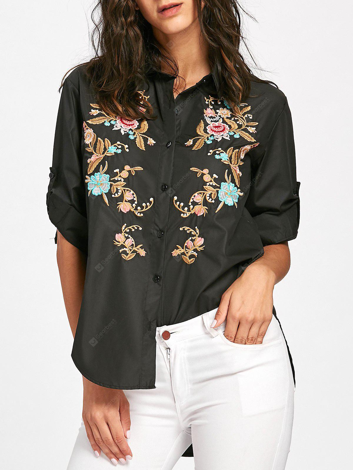Floral Embroidered High Low Blouse
