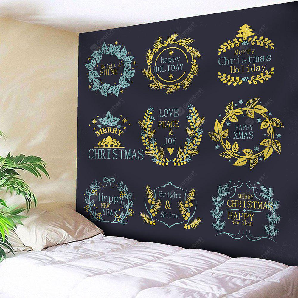 Christmas Plant Wreath Print Wall Tapestry
