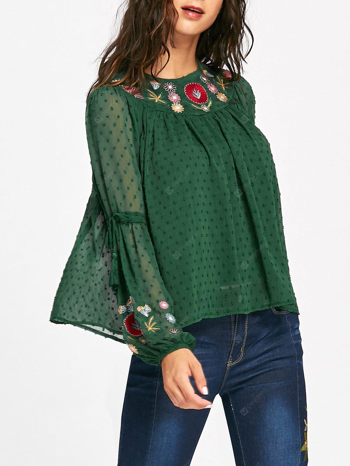Floral Embroidered Bell Sleeve Tassel Blouse