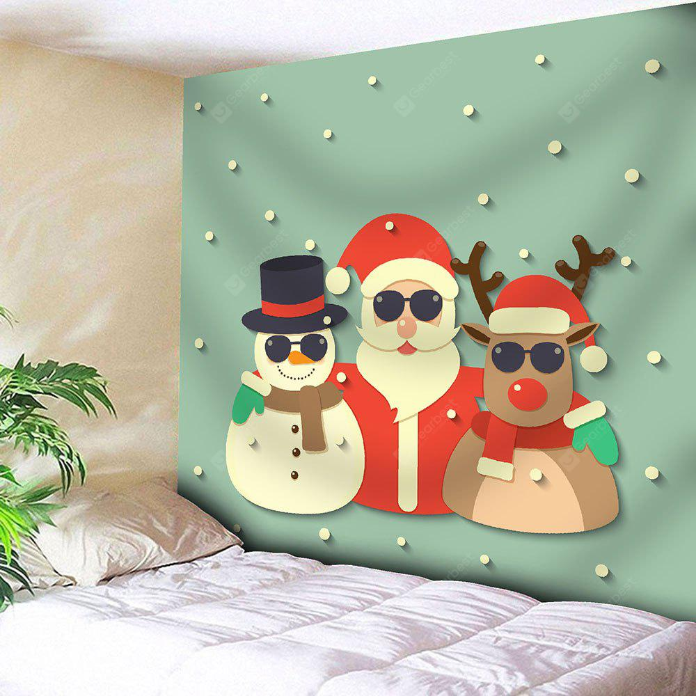 Santa Claus Snowman Deer Christmas Wall Tapestry