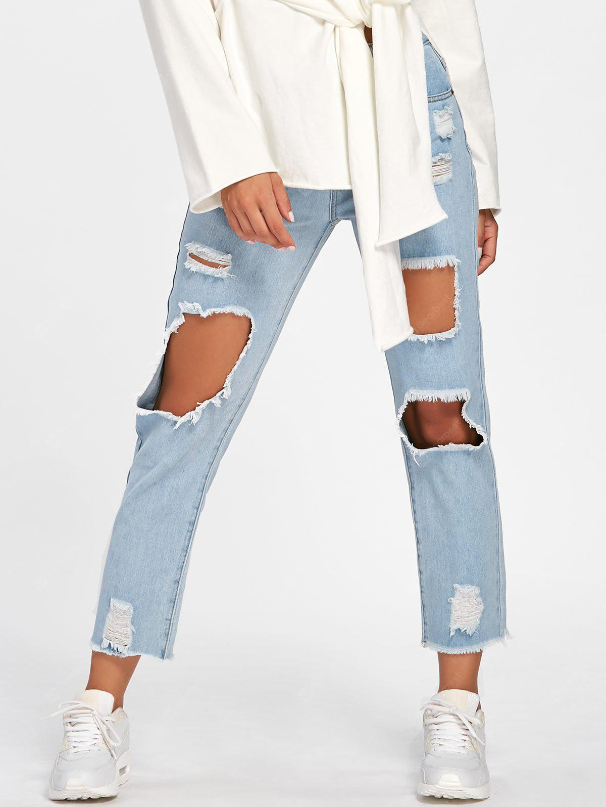 LIGHT BLUE 2XL Faded Destroyed Jeans